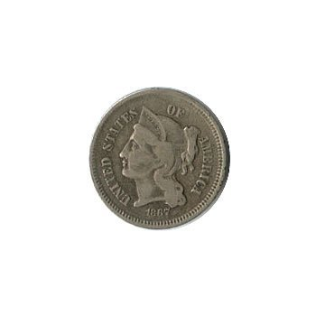 Early Type 3 Cent Nickel 1865-1889 G-VG