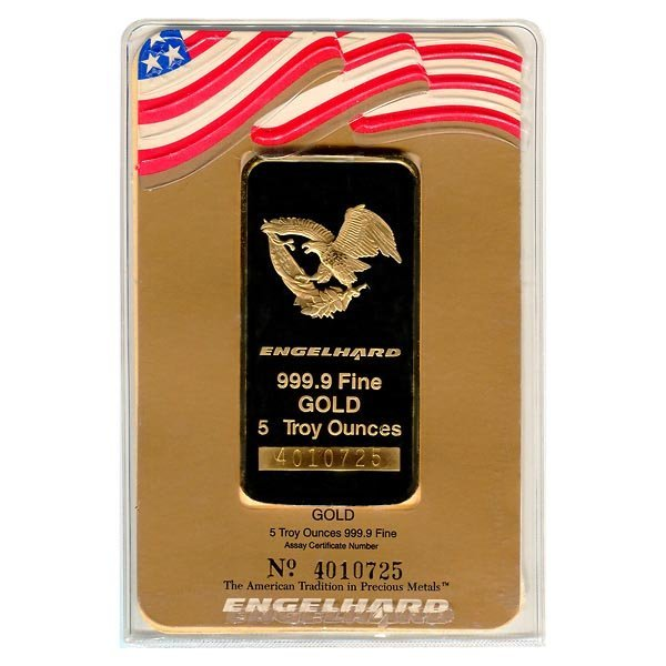Gold Bars: Engelhard Five Ounce Gold Bar