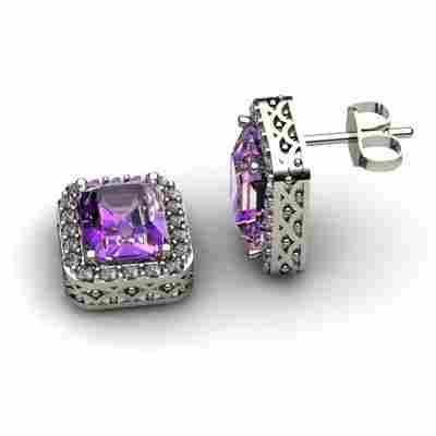 Genuine 3.50 ctw Amethyst Diamond Earring 14k W/Y Gold