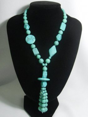 575CTW�BLUE TURQUOISE LONGSTRAND NECKLACE SIZE 20INCH