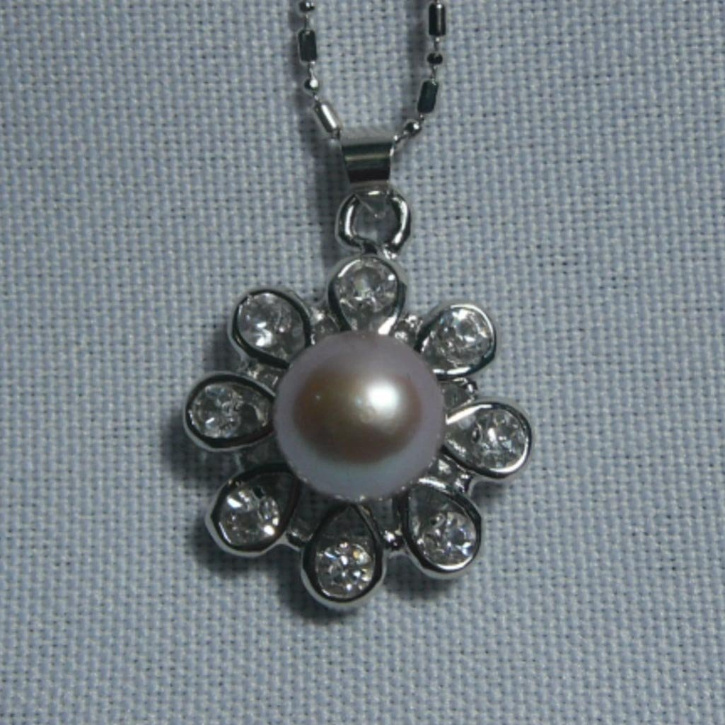 PURPLE PEARL FLOWER CZ NECKLACE;