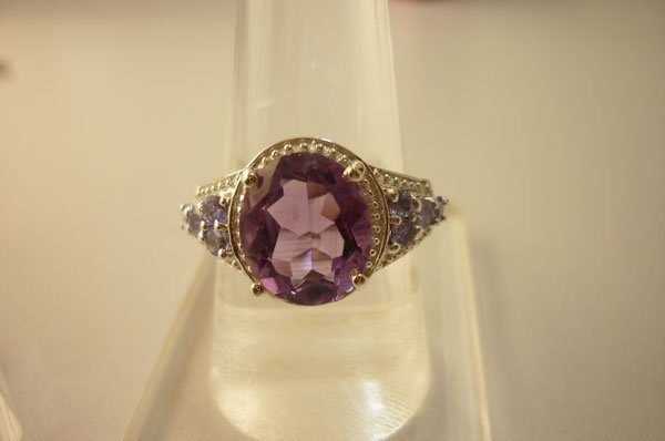 28.00 Amethyst and TANZANITE cut fine ring .925 STERLIN