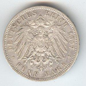 Prussia 5 mark silver, 1891-1908, VF