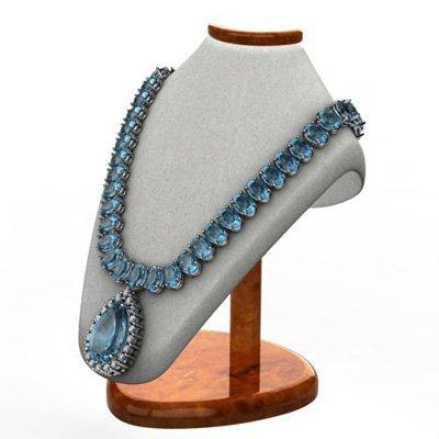 Aqua Marine 46.90 ctw & Diamond Necklace 14kt White or