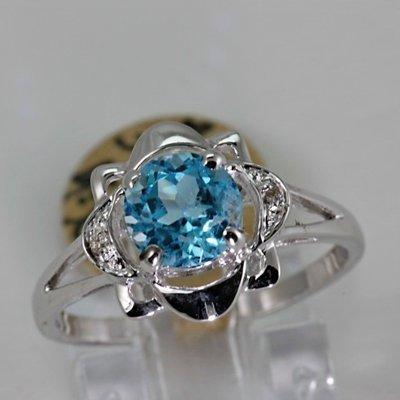 Genuine 1.63 ctw Blue Topaz Diamond Ring 14K White Gold