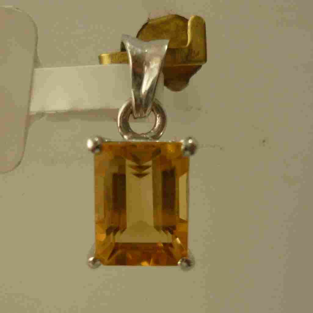 5.75 CTW CITRINE PENDANT .925 STERLING SILVER