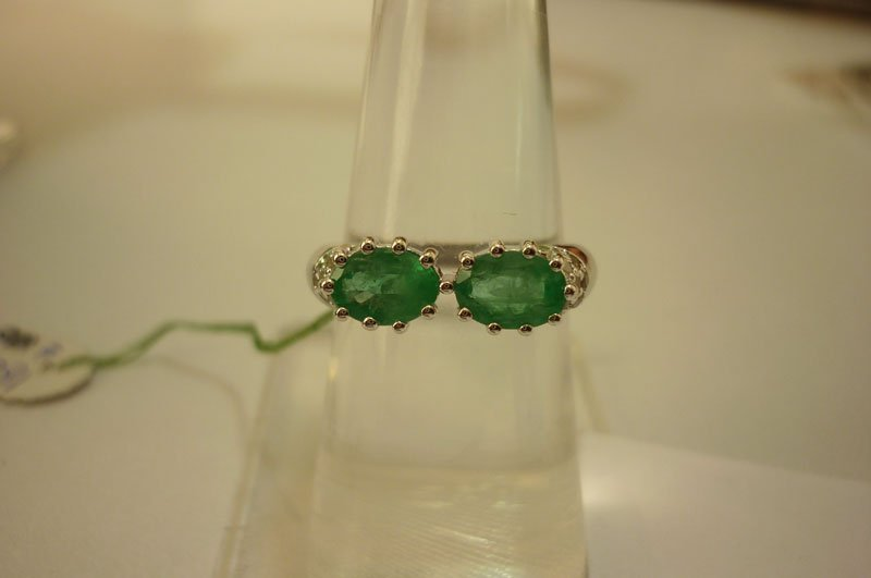 16.65 ctw Emerald and Diamond Ring .925 Sterling Silver