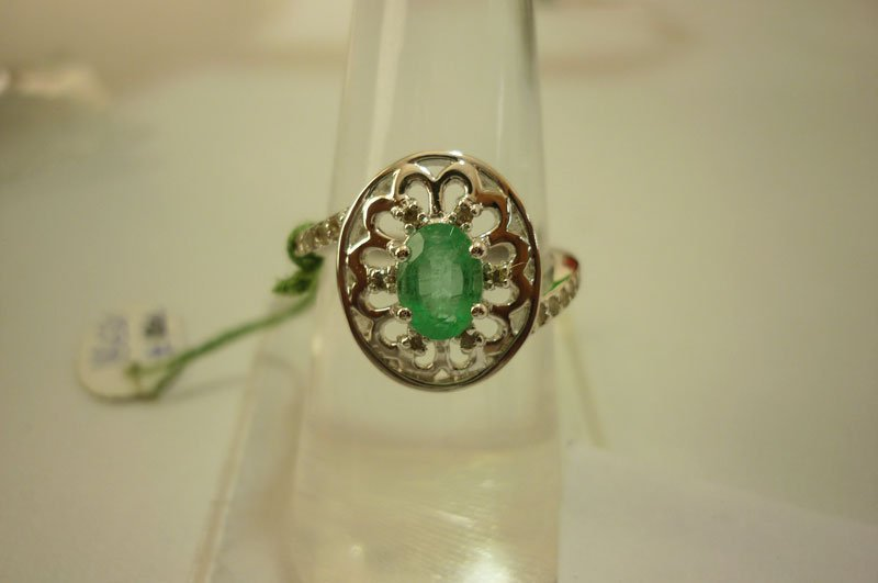 19.15 ctw Emerald and Diamond Ring .925 Sterling Silver