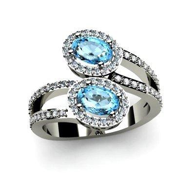 Topaz 1.47 ctw & Diamond Ring 18kt W/Y Gold