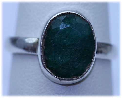 17.30 CTW EMERALD RING .925 STERLING SILVER
