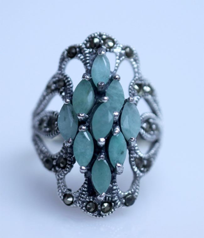 36.00 CTW EMERALD ANTIQUE LOOKING RING .925 STERLIN