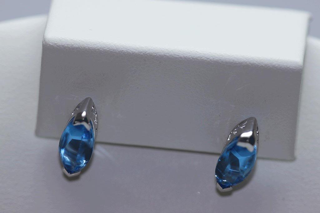 18.50 CTW BLUE TOPAZ EARINGS .925 STERLING SILVER