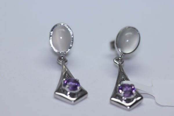 25.70 CTW MOON STONE AND AMETHYST EARINGS .925 STERLING