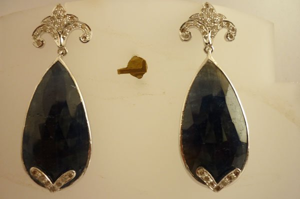 84.45 CTW SAPPHIRE AND DIAMOND EARRINGS .925 STERLING S