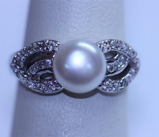 19.75 CTW PEARL/CZ ANTIQUE LOOKING JEWELRY .925 STERLIN
