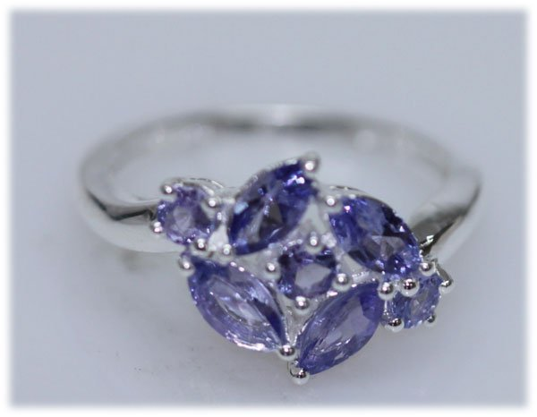 10.62 CTW TANZANITE RING .925 STERLING SILVER