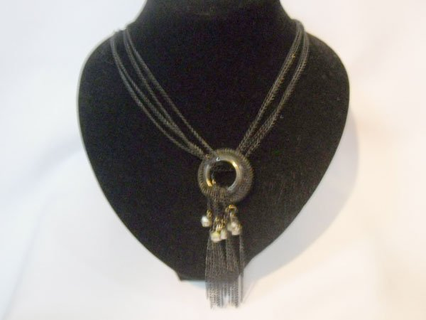 BLACK BRASS CHAIN LONG NECKLACE; METAL; 22 INCH