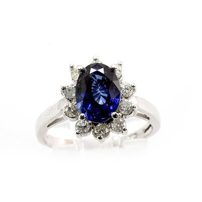 Genuine Blue Sapphire 2.93 ctw Diamond Ring 10K