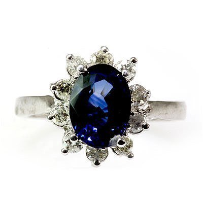Genuine Blue Sapphire 2.93 ctw Diamond Ring 10K - 2