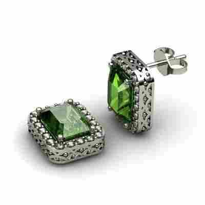 Genuine 3.90 ctw Emerald Diamond Earring 14k W/Y Gold