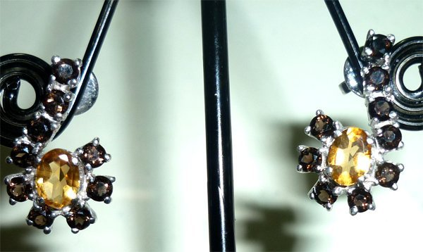 NATURAL 24.75 CTW CITRINE AND SMOKEY TOPAZ EARRING .925