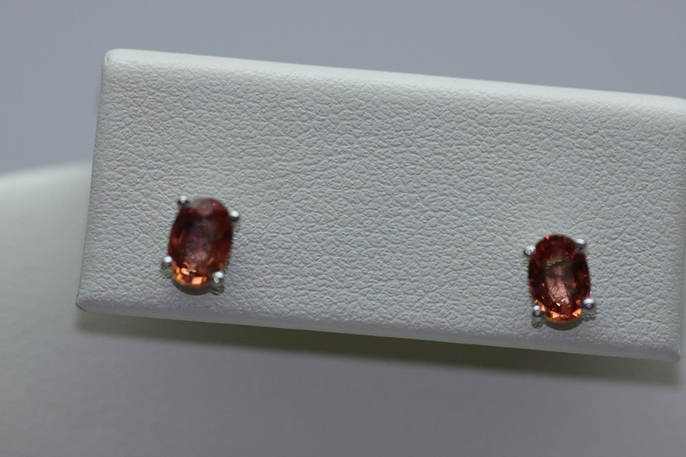 6.00 CTW ORANGE SAPPHIRE EARINGS .925 STERLING SILVER