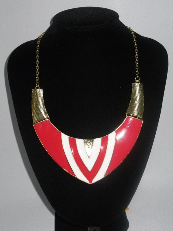 312CTW PINK-WHITE V-NECK BRASS NECKLACE;18INCH
