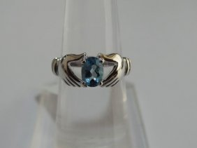 14.00 CTW BLUE TOPAZ RING .925 STERLING SILVER