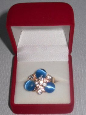 8CTW TRI AQUA CZ ADJUSTABLE BRASS RING