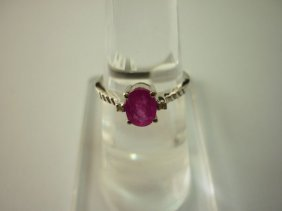 9.25 CTW RUBY AND DIAMOND RING .925 STERLING SILVER