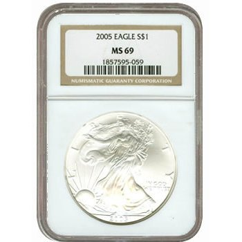 Certified Uncirculated Silver Eagle 2005 MS69