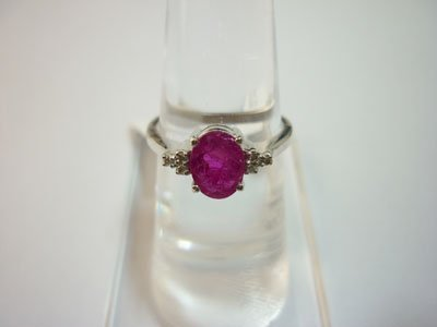 10.25 CTW RUBY & DIAMOND RING .925 STERLING SILVER