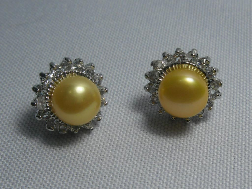 CHAMPAGNE PEARL ROUND CZ EARRINGS; AUTHENTIC PHILIPPINE