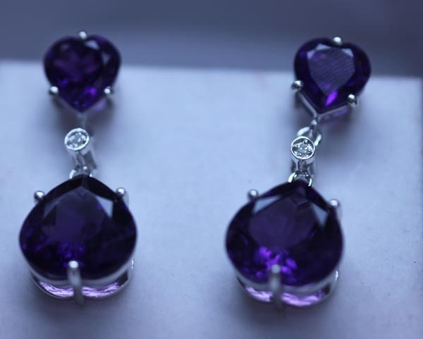 33.55 CTW AMETHYST AND DIAMOND EARRINGS .925 STERLING S