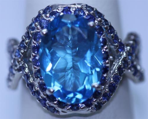 31.98 CTW BLUE TOPAZ AND SAPPHIRE RING .925 STERLING SI