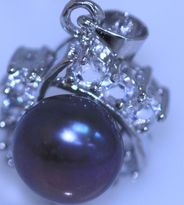 15.30 CTW BLACK PEARL AND CZ PENDANT