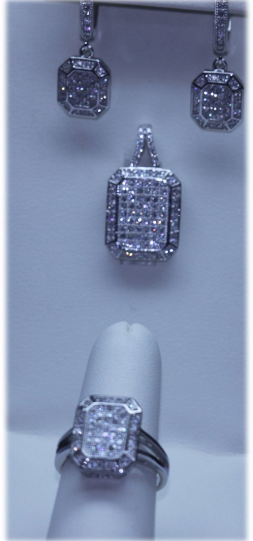 53.60 CTW MICRO PAVE CZ EARRING, RING,PENDANT SET .925