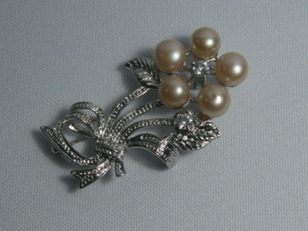 CLASSIC PEACH PEARL CZ BROOCH AUTHENTIC PHILIPPINE PEAR