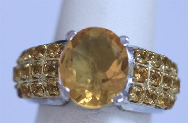 36.5 CTW CITRINE RING .925 STERLING SILVER