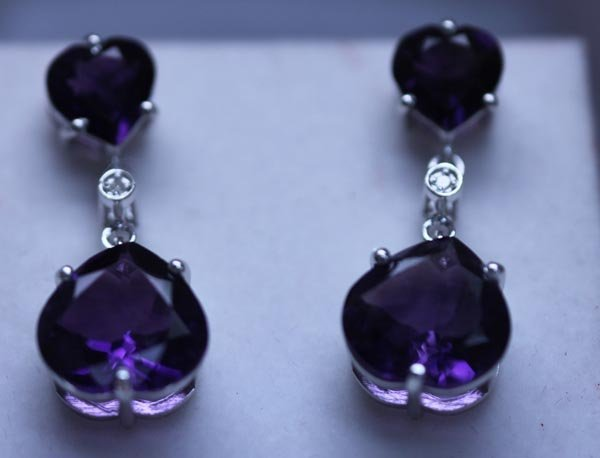 31.45 CTW AMETHYST AND DIAMOND EARRINGS .925 STERLING S