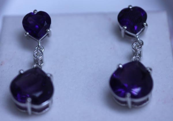 31.65 CTW AMETHYST AND DIAMOND EARRINGS .925 STERLING S