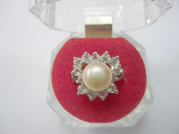 PEACH PEARL WITH CZ SILVER RING; METAL: SILVER; PHILIPP