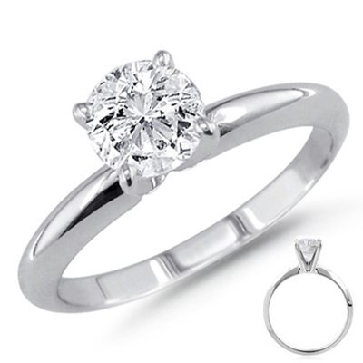 0.35 ct 14K White Gold Solitare Round Ring G-H SI1
