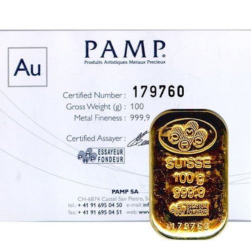 Gold Bars: Pamp Suisse Poured 100 Gram Gold Bar (3.215