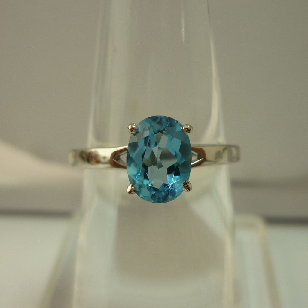 10.75 CTW BLUE TOPAZ RING .925 STERLING SILVER