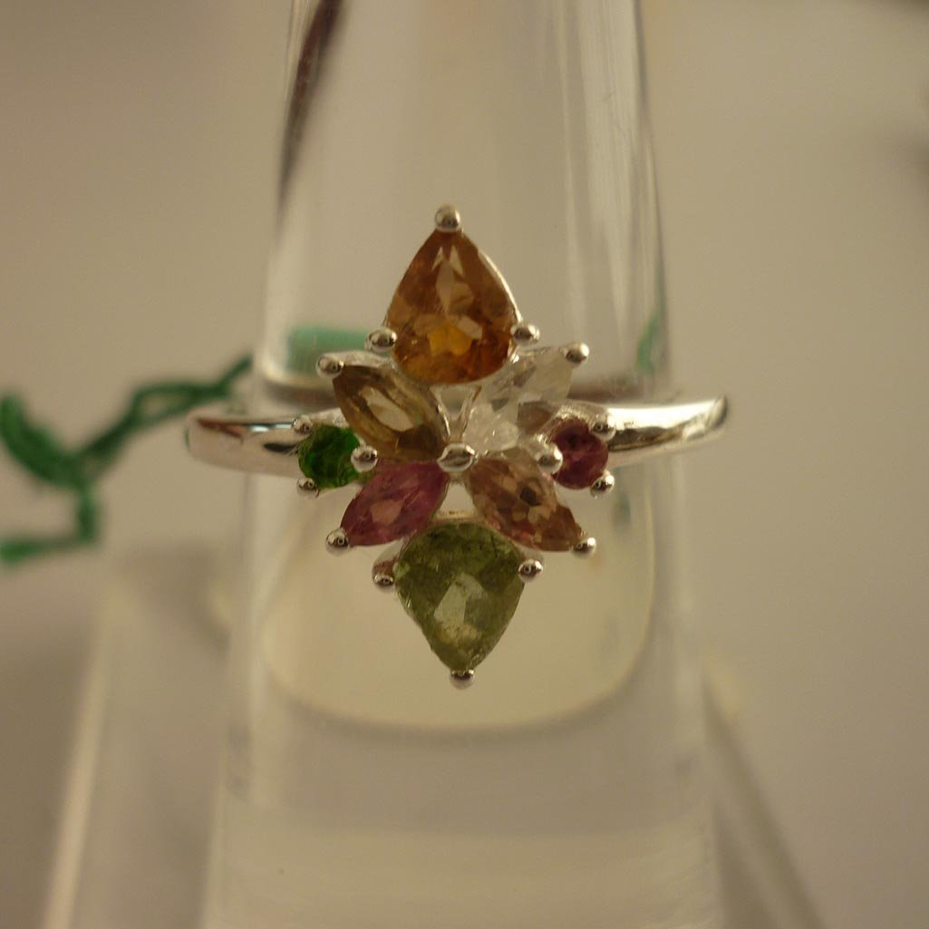 11.00ctw,SEMIPRECIOUS RING .925 STERLING SILVER