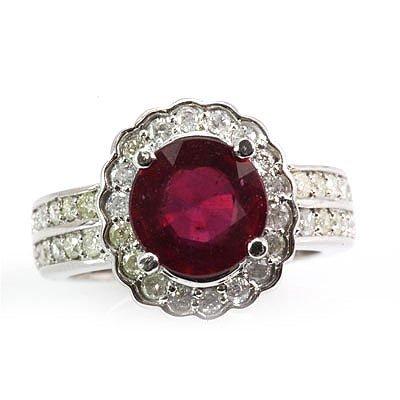 Genuine Ruby 4.45 ctw Diamond Ring 14k 7.9g