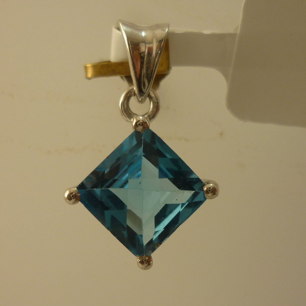 9.25 CTW BLUE TOPAZ PENDANT .925 STERLING SILVER