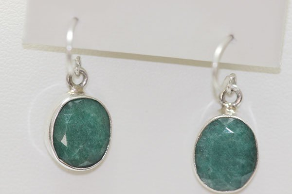 20.10 CTW EMERALD EARINGS .925 STERLING SILVER