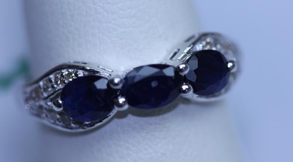 15.95 CTW SAPPHIRE AND DIAMOND RING .925 STERLING SILVE